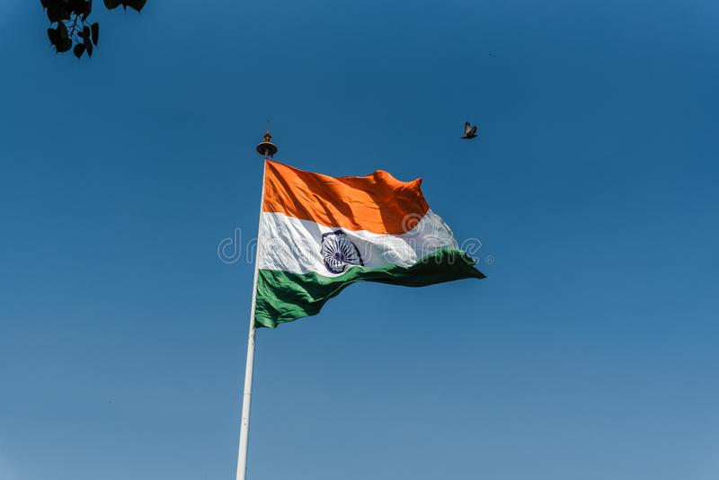 National Flag of India. Indian National Flag waving at New Delhi stock photos