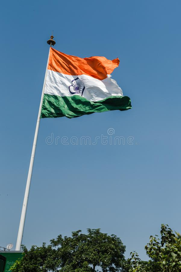 National Flag of India. Indian National Flag waving at New Delhi stock image