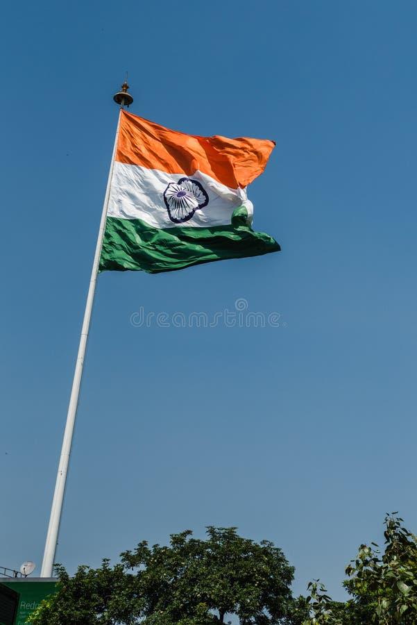 National Flag of India. Indian National Flag waving at New Delhi stock photography