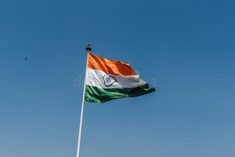 National Flag of India. Indian National Flag waving at New Delhi royalty free stock photography