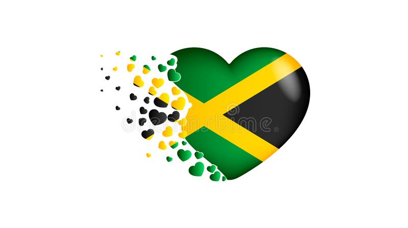 National flag of Jamaica in heart illustration. With love to Jamaica country. The national flag of Jamaica fly out small hearts. On white background stock illustration