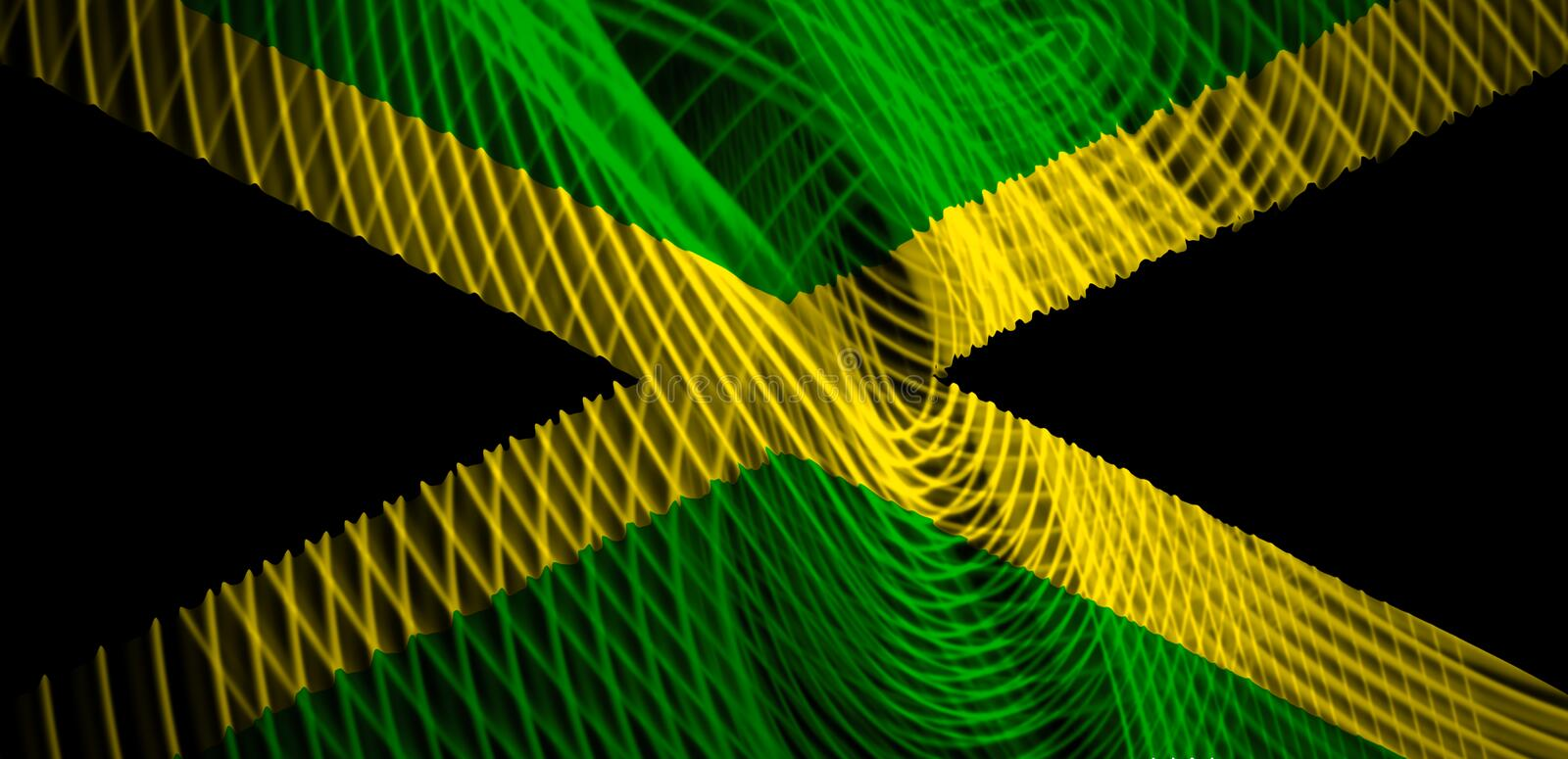 The national flag of Jamaica. On the background neon geometric stripes stock illustration
