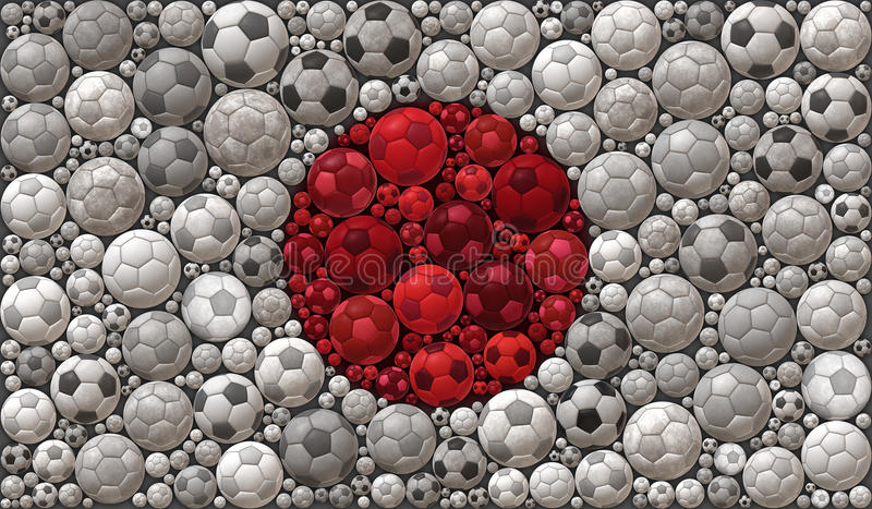 National Flag of Japan Soccer Balls Mosaic Illustration Design Concept. Sport Background stock illustration