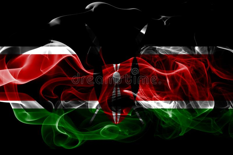 National flag of Kenya made from colored smoke isolated on black background. Abstract silky wave background. National flag of Kenya made from colored smoke royalty free stock images