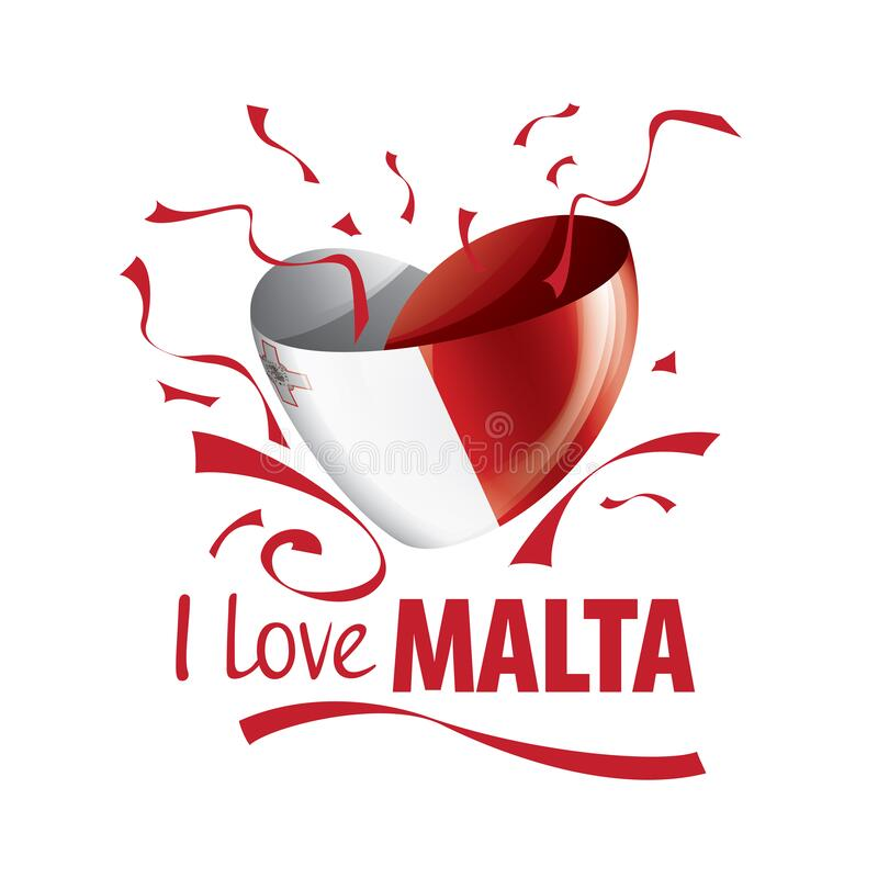 National flag of the Malta in the shape of a heart and the inscription I love Malta. Vector illustration royalty free illustration
