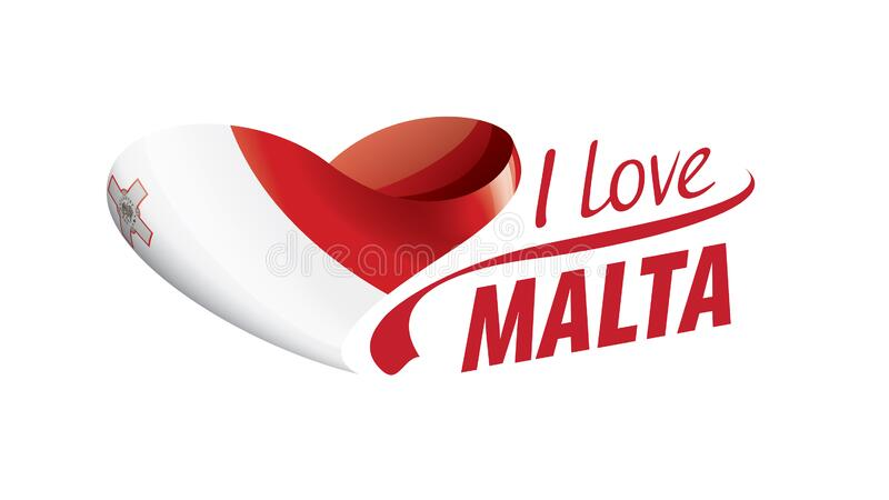 National flag of the Malta in the shape of a heart and the inscription I love Malta. Vector illustration vector illustration