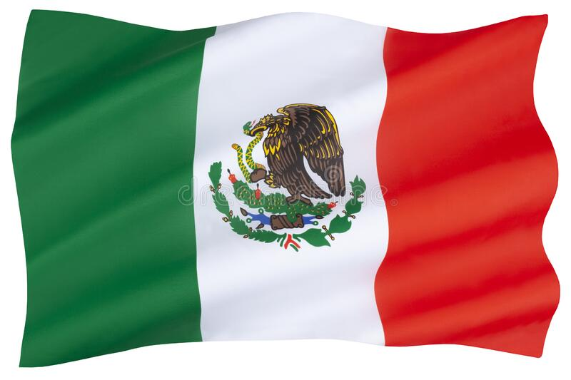 National Flag of Mexico stock photography