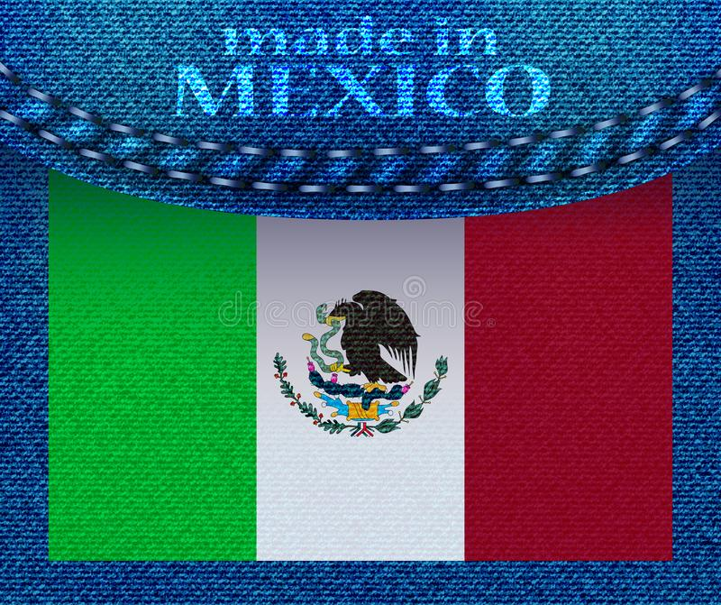 National flag of Mexico with denim texture and orange seam. Grunge flag on blue jeans background. Made in the Mexico vector illustration