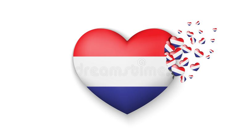 National flag of Netherlands in heart illustration. With love to Netherlands country. The national flag of Netherlands fly out. Small hearts on white background royalty free illustration