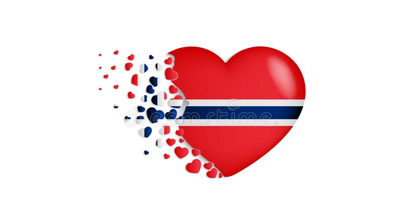 National flag of Norway in heart illustration. With love to Norway country. The national flag of Norway fly out small hearts stock illustration