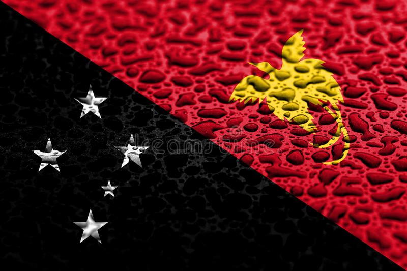 National flag of Papua New Guinea made of water drops. Background forecast concept.  royalty free stock image