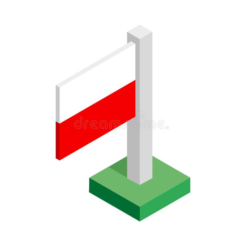 National flag of Poland on flagpole drawn in isometric view vector illustration