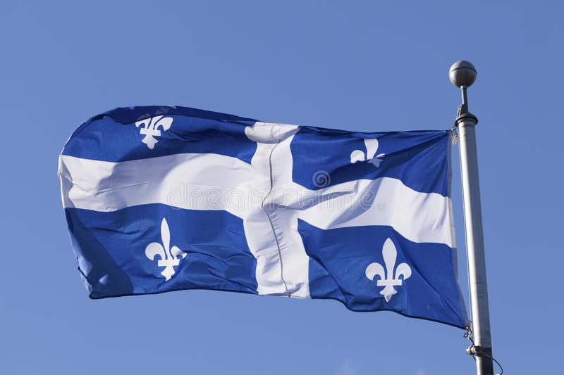 Flag of Quebec, Canada. The national flag of Quebec, Canada stock photos