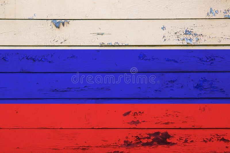 National flag of Russian federation painted on wooden wall. Close up stock image