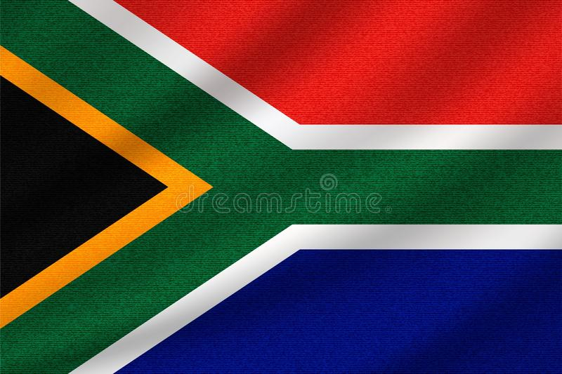 National flag of South Africa. On wavy cotton fabric. Realistic vector illustration vector illustration