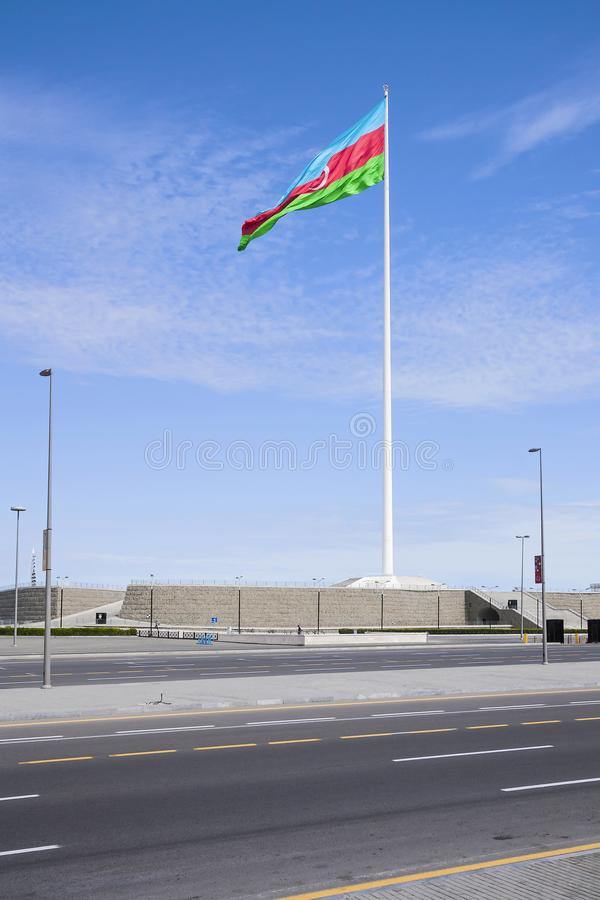 National Flag Square is a large city square off Neftchiler Avenue in Baku, Azerbaijan. A flag measuring 70 by 35 metres flies on. A pole 162 m high. Baku royalty free stock images