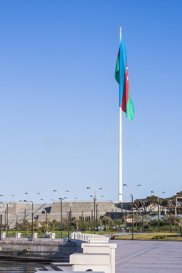 National Flag Square is a large city square off Neftchiler Avenue in Baku, Azerbaijan. A flag measuring 70 by 35 metres flies on. A pole 162 m high. Baku royalty free stock photography