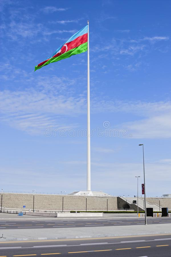 National Flag Square is a large city square off Neftchiler Avenue in Baku, Azerbaijan. A flag measuring 70 by 35 metres flies on. A pole 162 m high. Baku stock images