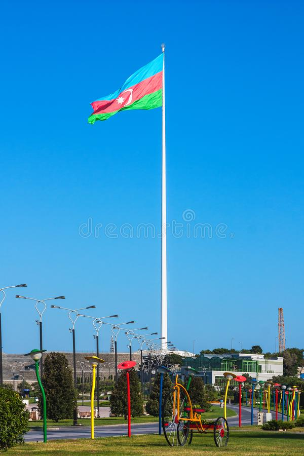 National Flag Square is a large city square off Neftchiler Avenue in Baku, Azerbaijan. A flag measuring 70 by 35 metres flies on. A pole 162 m high. Baku stock photography