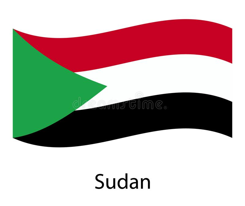 National Flag Of Sudan Isolated On Gray Background. Realistic Sudan Flag  Waving In The Wind. Stock Vector - Illustration of background, border:  128761534