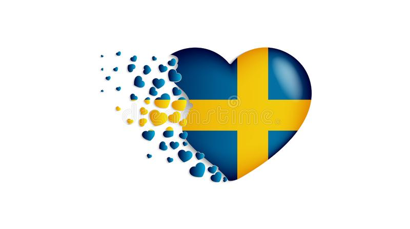 National flag of Sweden in heart illustration. With love to Sweden country. The national flag of Sweden fly out small hearts stock illustration