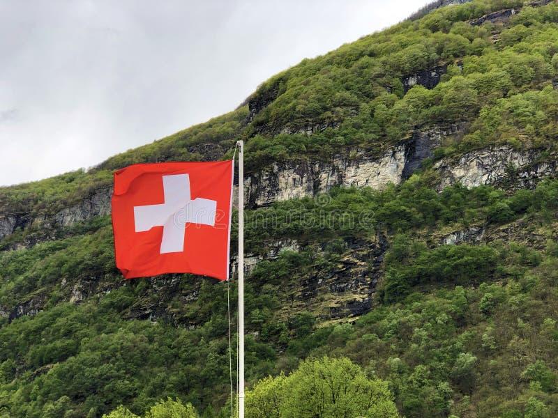 National flag of the Swiss Confederation Flag of Switzerland - National Flag of Switzerland. Nationalflagge der Schweizerischen Eidgenossenschaft Offizielle royalty free stock image