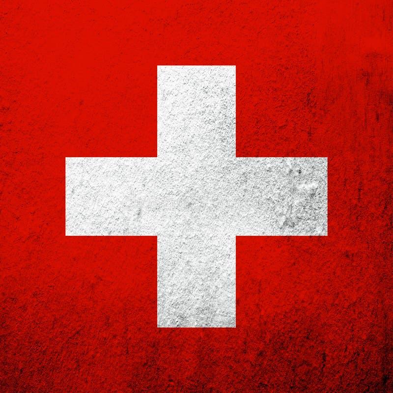 National flag of Switzerland Swiss Confederation. Grunge background royalty free stock photos