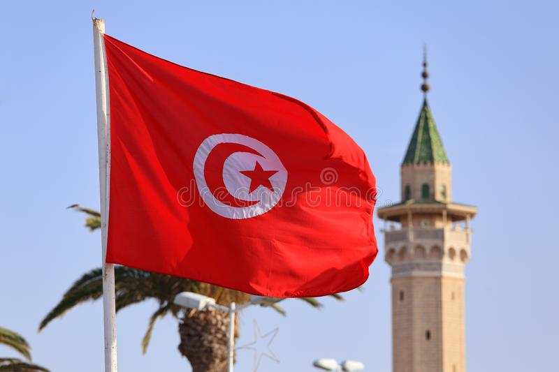 The national flag of Tunisia against the blue sky royalty free stock images