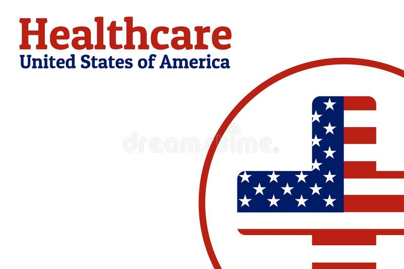 National flag of The United States of America in the shape of a medical cross in circle and Inscription USA healthcare stock illustration