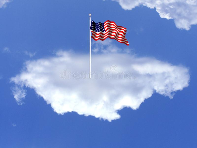 The national flag of the United States. on a cloud. The flagon a cloud of the United States of America, often referred to as the American flag, is the national royalty free stock photo