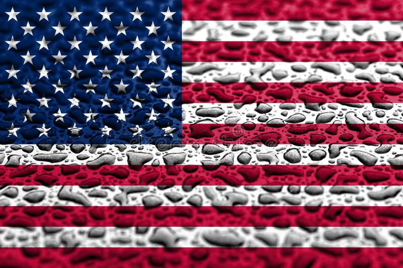 National flag of United States made of water drops. Background forecast concept.  stock image