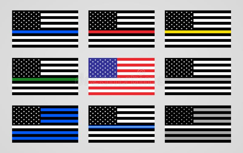 National flag of the USA and thin line flags royalty free illustration