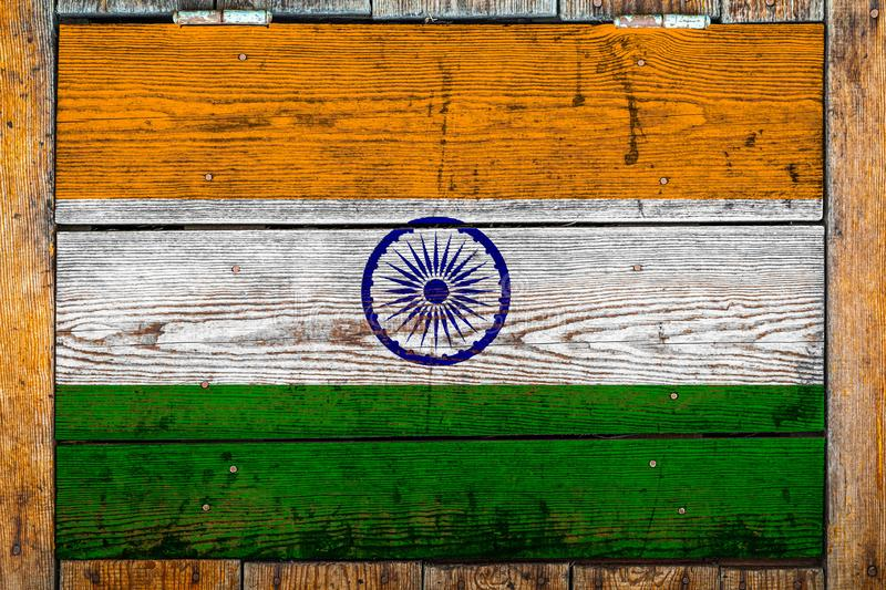 National flag  on a wooden wall background. stock photography