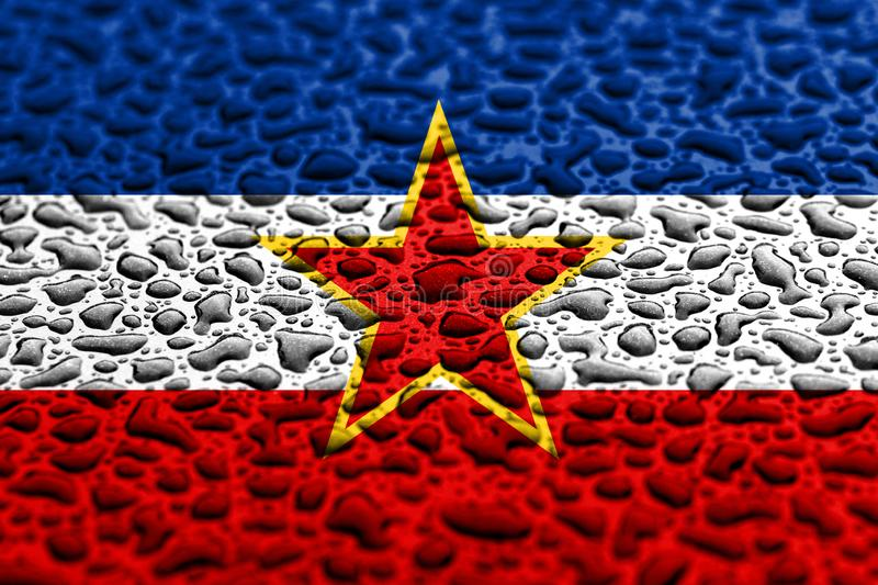 National flag of Yugoslavia made of water drops. Background forecast concept.  stock image