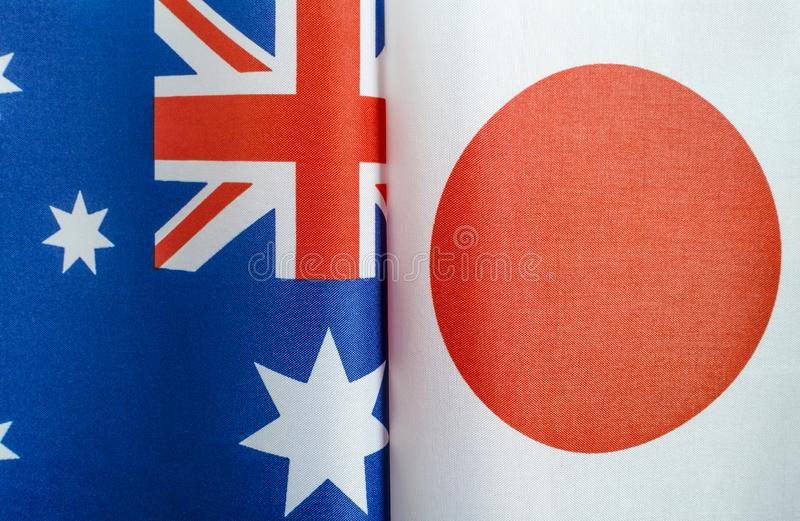 National flags of Australia and Japan royalty free stock images