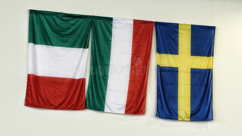 National flags of Italy, Hungary and Sweden o royalty free stock photo