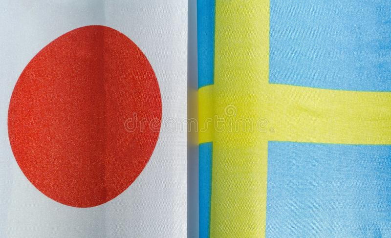 National flags of Japan and Sweden stock photo