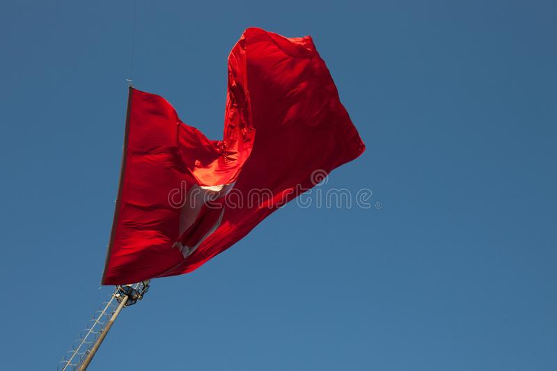 Flag of Turkey. National flags of modern Turkey, ataturk, browsing, capital, college, crescent, digital, downtown, flagpole, freedom, government, half royalty free stock photography
