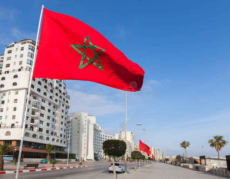 National flags stand along avenue in Tangier royalty free stock photos