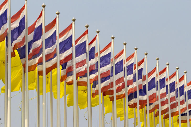 National flags of Thailand. In windy stock photo