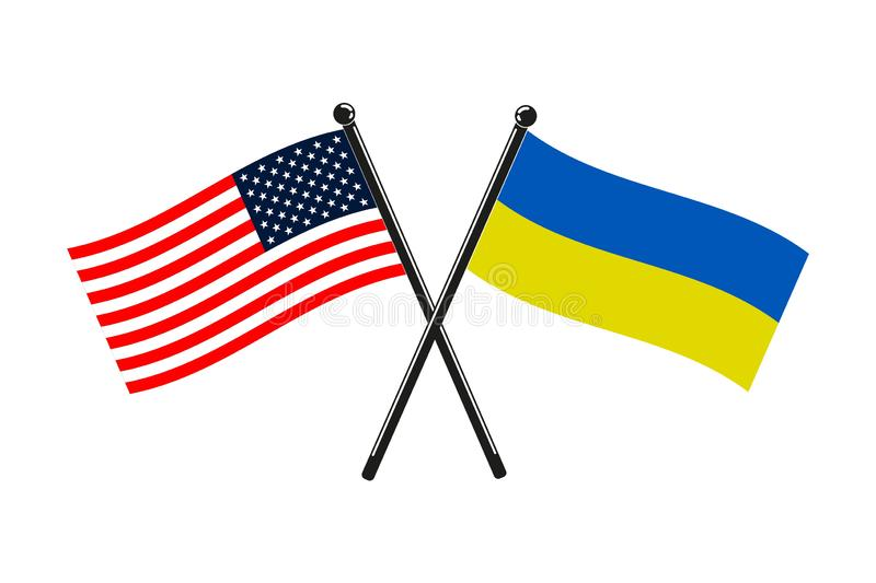 National flags of Ukraine and Usa crossed on the sticks royalty free illustration