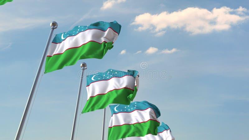 National flags of Uzbekistan. 3D rendering stock illustration
