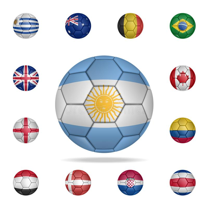 National football ball of Argentina. Detailed set of national soccer balls. Premium graphic design. One of the collection icons stock illustration