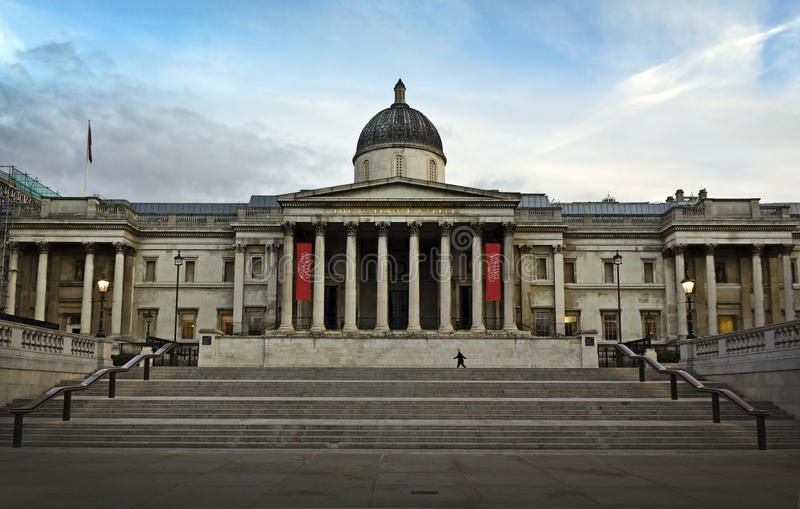 The National Gallery in London. The National Gallery at Trafalgar Square, London. Facade designed by William Wilkins stock photography