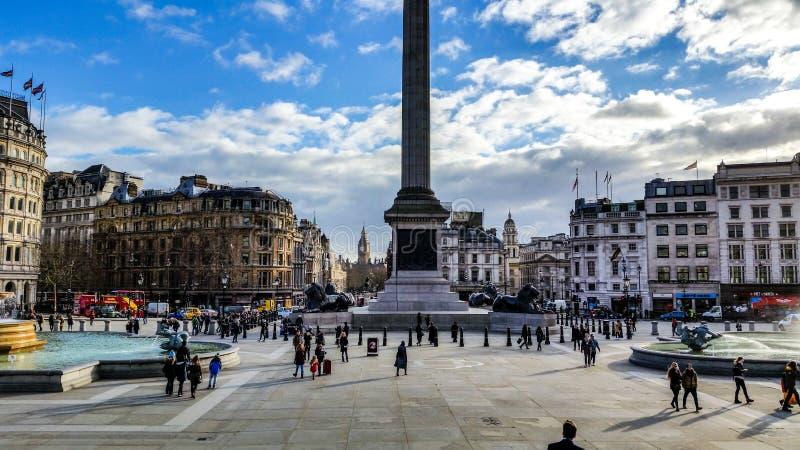 National Gallery - Mening van Trafalgar Square Londen royalty-vrije stock fotografie