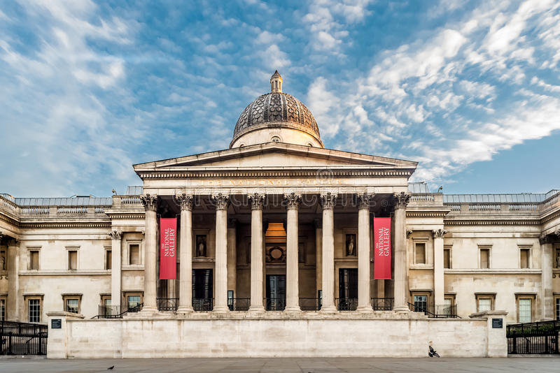 National Gallery Museum in London. A morning view of the National Gallery Museum - a historical place in Central London stock image