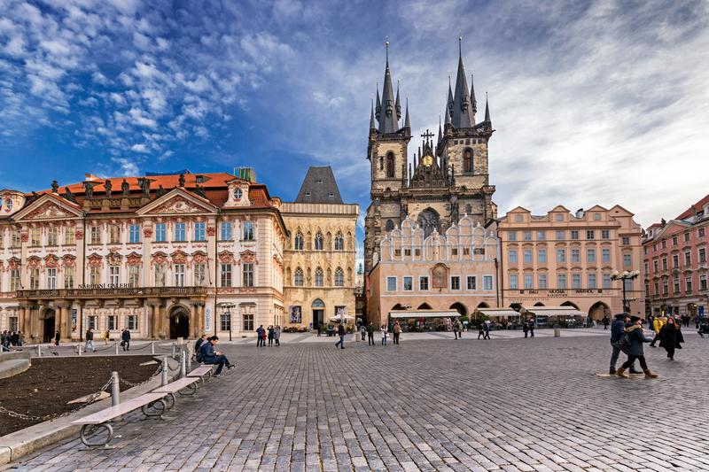 National Gallery. Old Town Square, square, Church of the Mother of God, Prague, Czech Republic royalty free stock photo