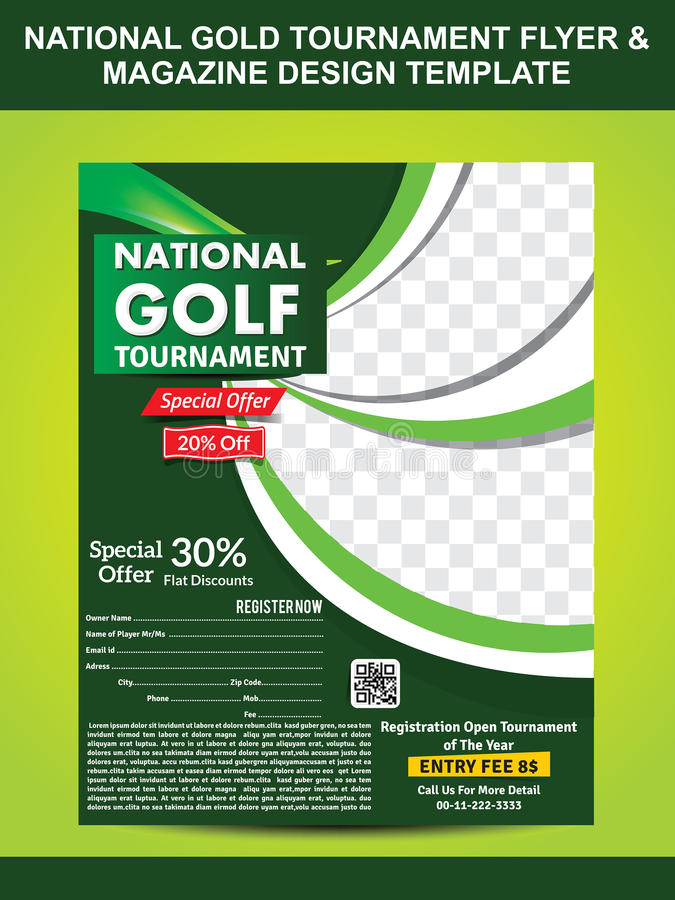 National Gold Golf Flyer Template Stock Vector Illustration Of