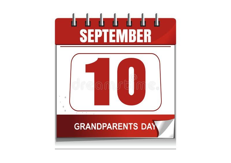 National Grandparents Day 2017. Desktop calendar stock illustration