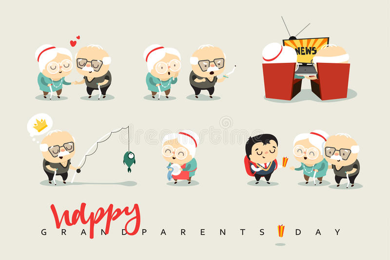 National Grandparents Day. Funny cartoon character elderly couple in love, grandparents. Doodle cute people isolated stock illustration